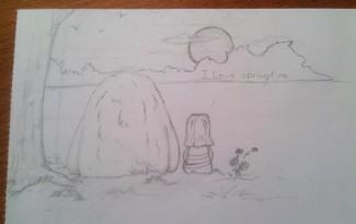 """Pencil sketch for the """"Springtime"""" illustration"""