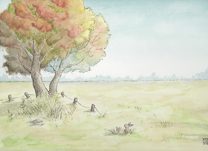 Rabbits watercolor illustration