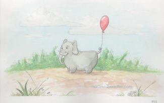 Elephant with red balloon watercolor illustration