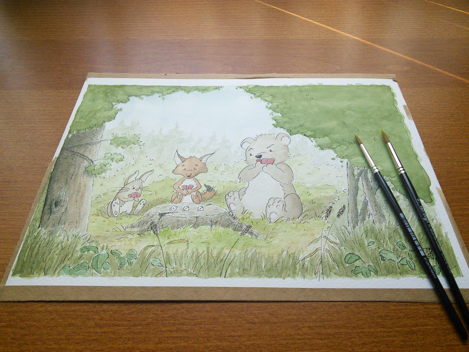 Forest Animals Playing Cards Watercolor Illustration