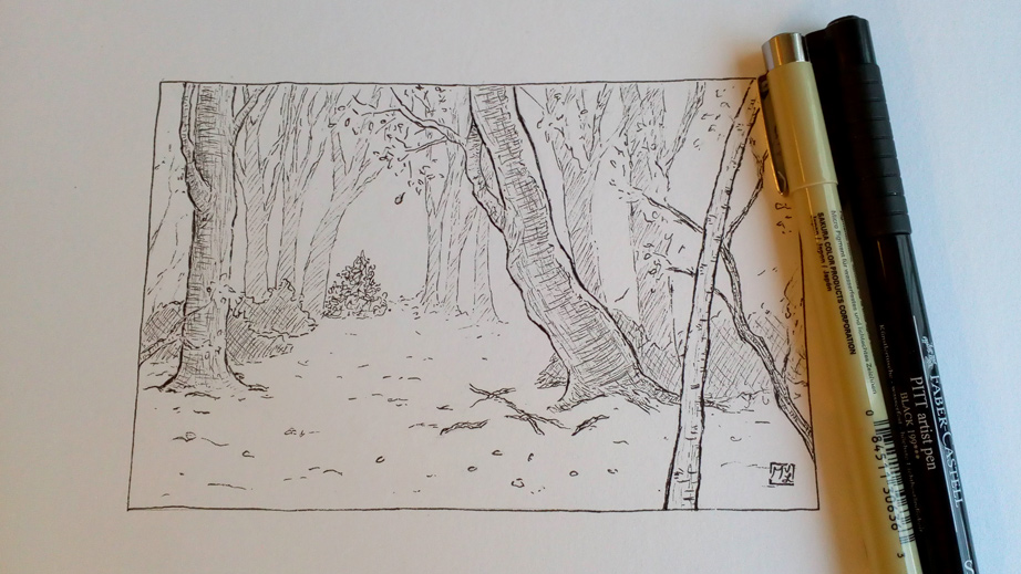 Forest in fall pen illustration 2